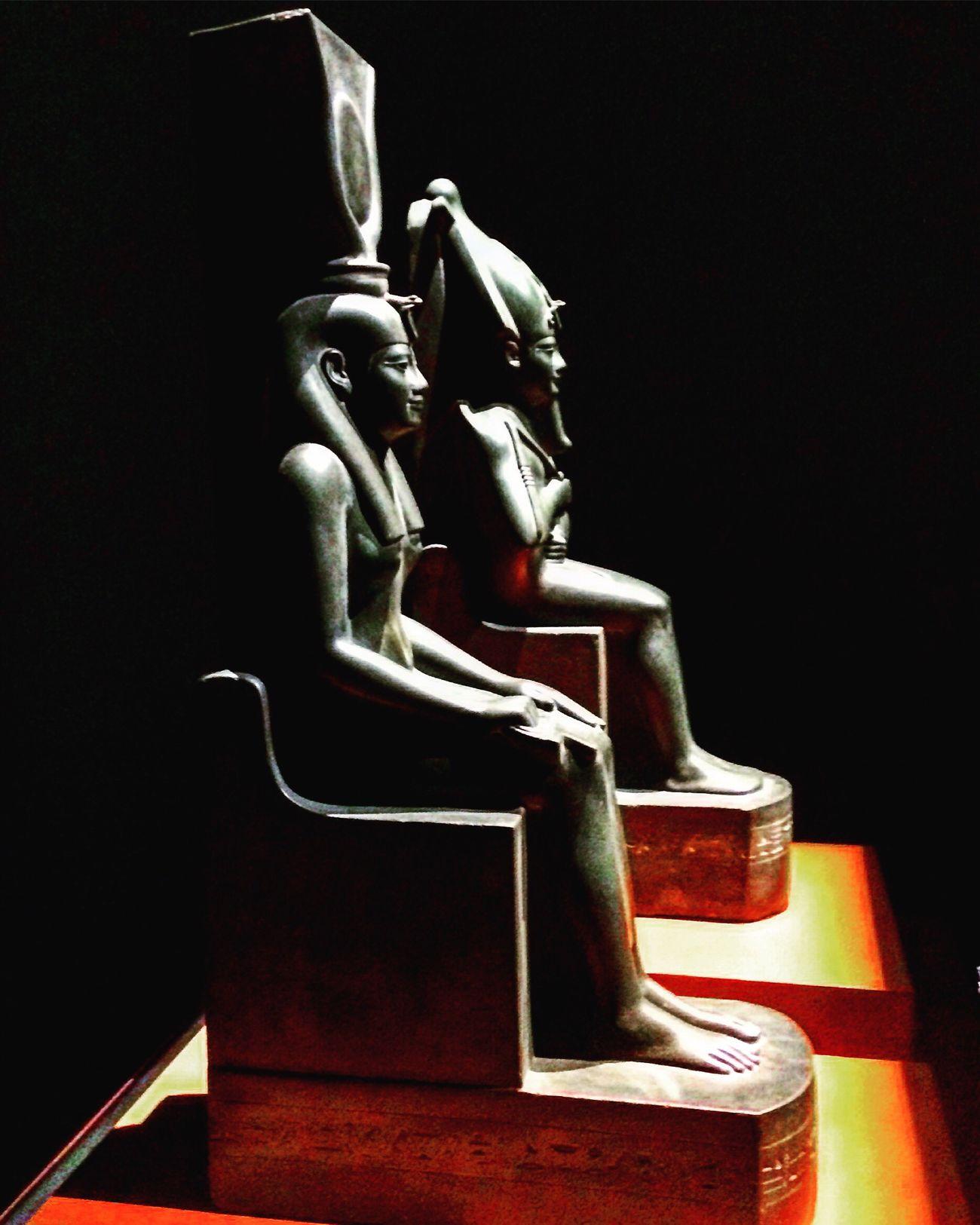 Isis Osiris Ancient Egypt Sculpture God Institut Du Monde Arabe Black Background Religion