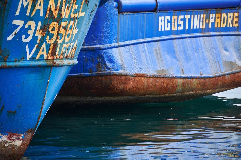 Grand Harbour, Malta Malta Grand Harbour Harbor Blue Water Sea Ship Ships Boat Nautical Vessel Transportation No People Mode Of Transport Close-up Detail Weathered Textures And Surfaces Rust Rusty