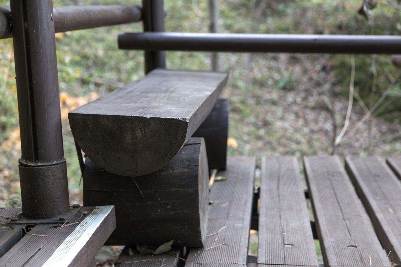 autumn in Maisan Mountain, Muan, Jeonbuk, South Korea Autumn Bench Close-up Day Fall Focus On Foreground Forest Maisan Metal Nature No People Outdoors Wood - Material