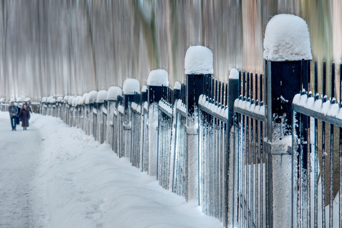 Cold Temperature Day Fence Fence Post Nature Outdoors Perspective ... Schnee Auf Zaun Snow Snow On Fence Surreal Surreal_manipulation Walk In The Snow Winter Zaun