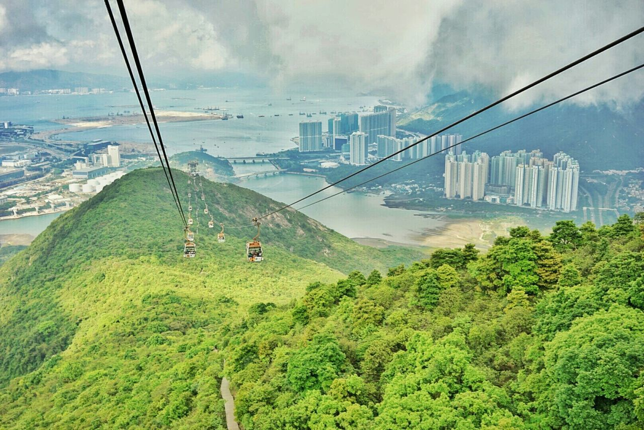 Hong Kong Cable Car View Pong 360 Big Buddha Skyscrapers Mountain View . Seascape Landscape