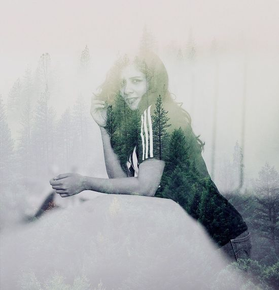 World within Me Relaxing Forever Peace Portrait Beautiful Nature Double Exposure Photo Photography Photographer Monochrome Favorite Female Model
