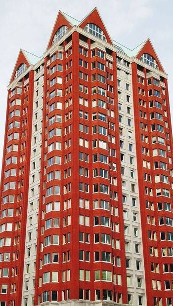 Red and white structure Architecture Outdoors Low Angle View Skyscraper Day Building Exterior Architecture_collection Building Buildings & Sky Red Color Buildingstyles Rotterdam Architecture Rotterdam