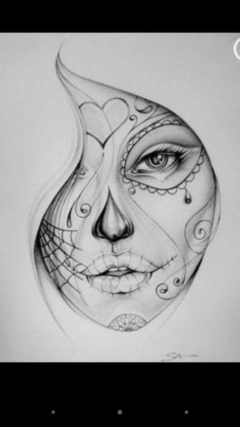 Painting Black & White Girl Art