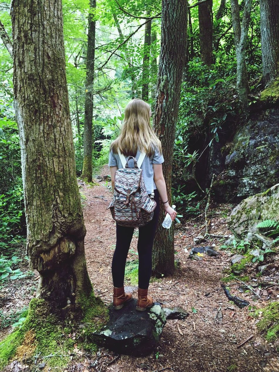 Forest Exploring 🌲 Forest Tree Nature Outdoors Day Blond Hair Journey Full Length Tree Trunk (null)One Person Real People People