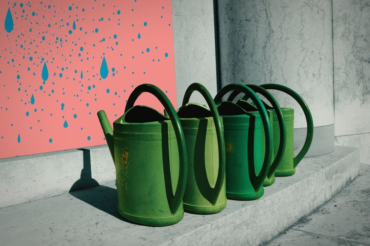 The Watering Cans Architecture Green Color Variation Watering Cans Watering Can Wateringcan Marble Marbledstone Grey Pink Wall Drops Of Water Drops Light And Shadow Graphic Design Minimalism Minimal Ironic View Textures And Surfaces Minimalobsession Blue Shadows & Lights Five Objects Gardening Surrealism Welcome Weekly
