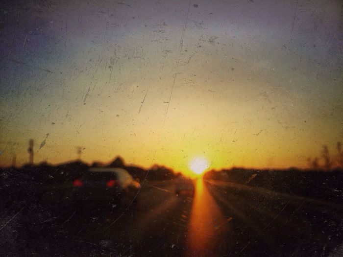Sunset Orange Color Sky Nature No People Transportation Car Drop Sun Beauty In Nature Road Scenics Outdoors Close-up Day