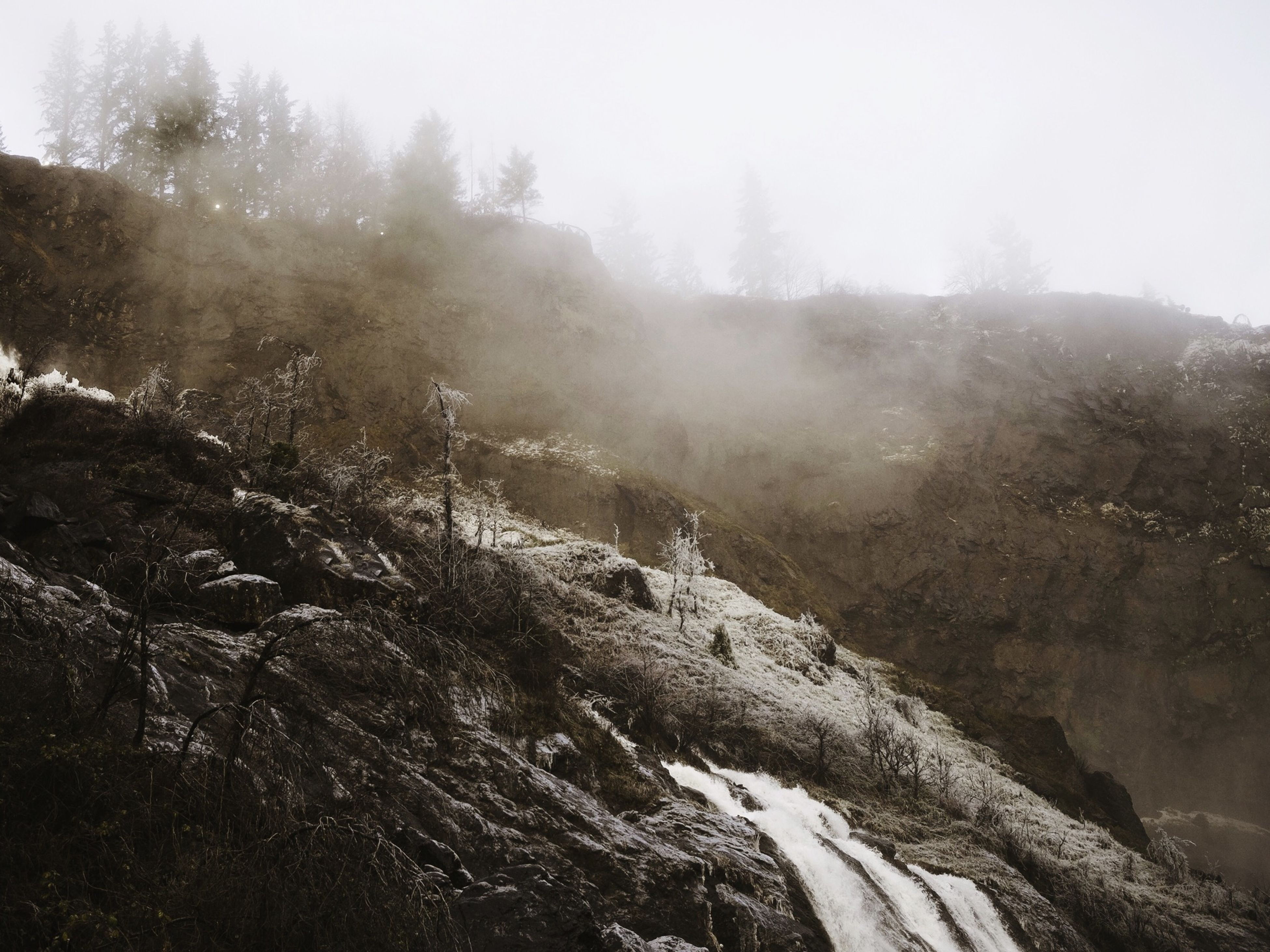 fog, scenics, tranquility, tranquil scene, beauty in nature, tree, nature, mountain, foggy, non-urban scene, landscape, weather, rock - object, forest, idyllic, winter, sky, remote, day