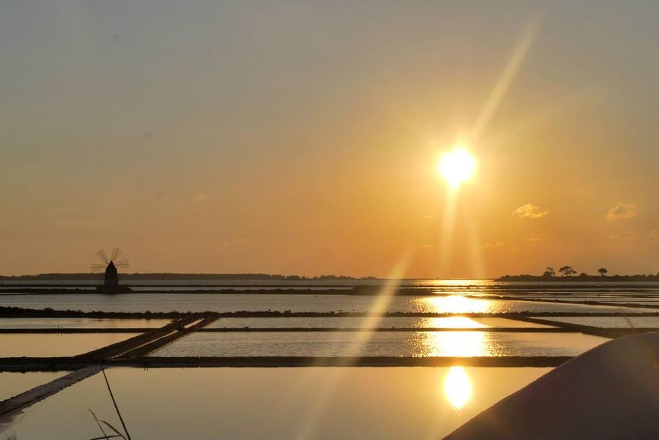 Sunset Sicily Mozia Salt Windmill Reflection