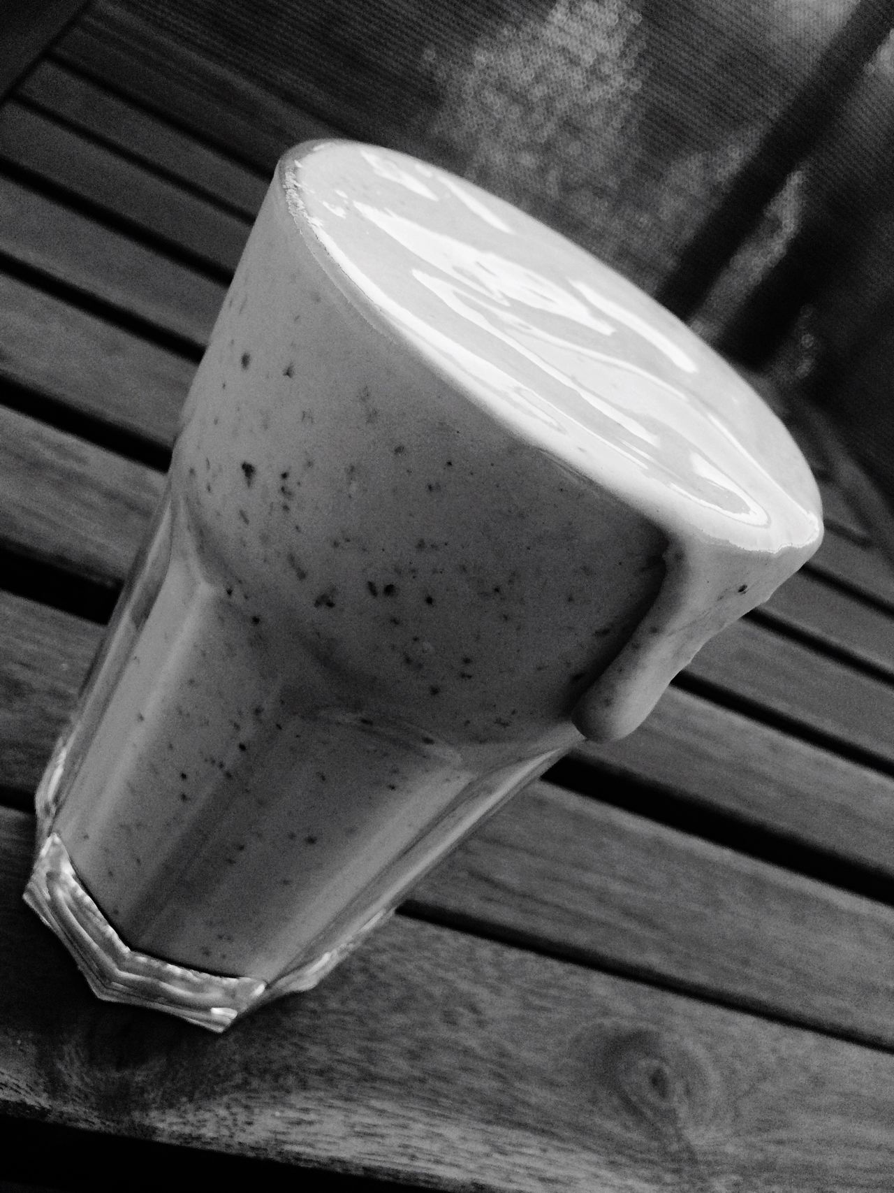Close-up Wooden Food And Drink Wood - Material Table Still Life Fork Plank Wood Boardwalk No People Proteinshake Proteinpowder Proteinpower Protein Black And White Shake Berry Berlin Germany Home Sportrink Drink Delicious