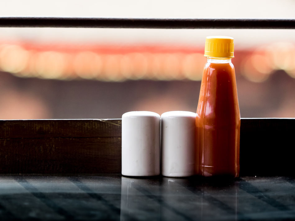 Bhaktapur Bokeh Close-up Day Drink Focus On Foreground Indoors  Ketchup Muffineer Nepal No People Noname Pepper Salt Shaker Streetphotography Table Travel