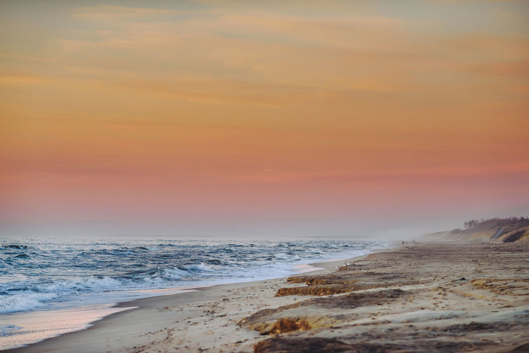 Sunset, Juodkrantė, Lithuania Beach Beauty In Nature Cloud - Sky Coastal Feature Dramatic Sky Fog And Sea Foggy Horizon Over Water Idyllic Nature No People Outdoors Sand Scenics Sea Sea View Sky Social Issues Sunset Tranquil Scene Tranquility Travel Destinations Water