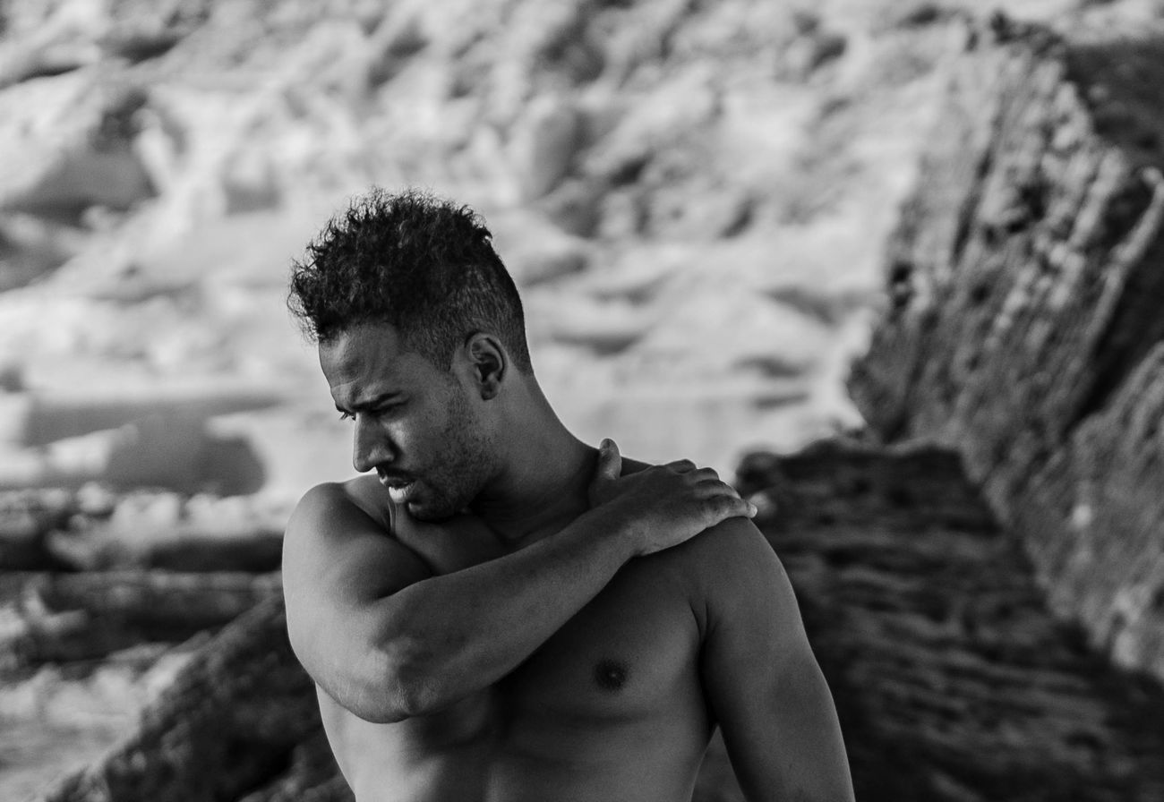 """Reinaldo Portrait Portrait Of A Man  Black And White Portrait One Person One Man Only Young Adult Blackandwhite Photography Blackandwhite Monochrome Focus On Foreground Shirtless Muscular Build Waist Up Outdoors [Photo shoot organized by """"Curso Fotografía Mallorca""""]"""