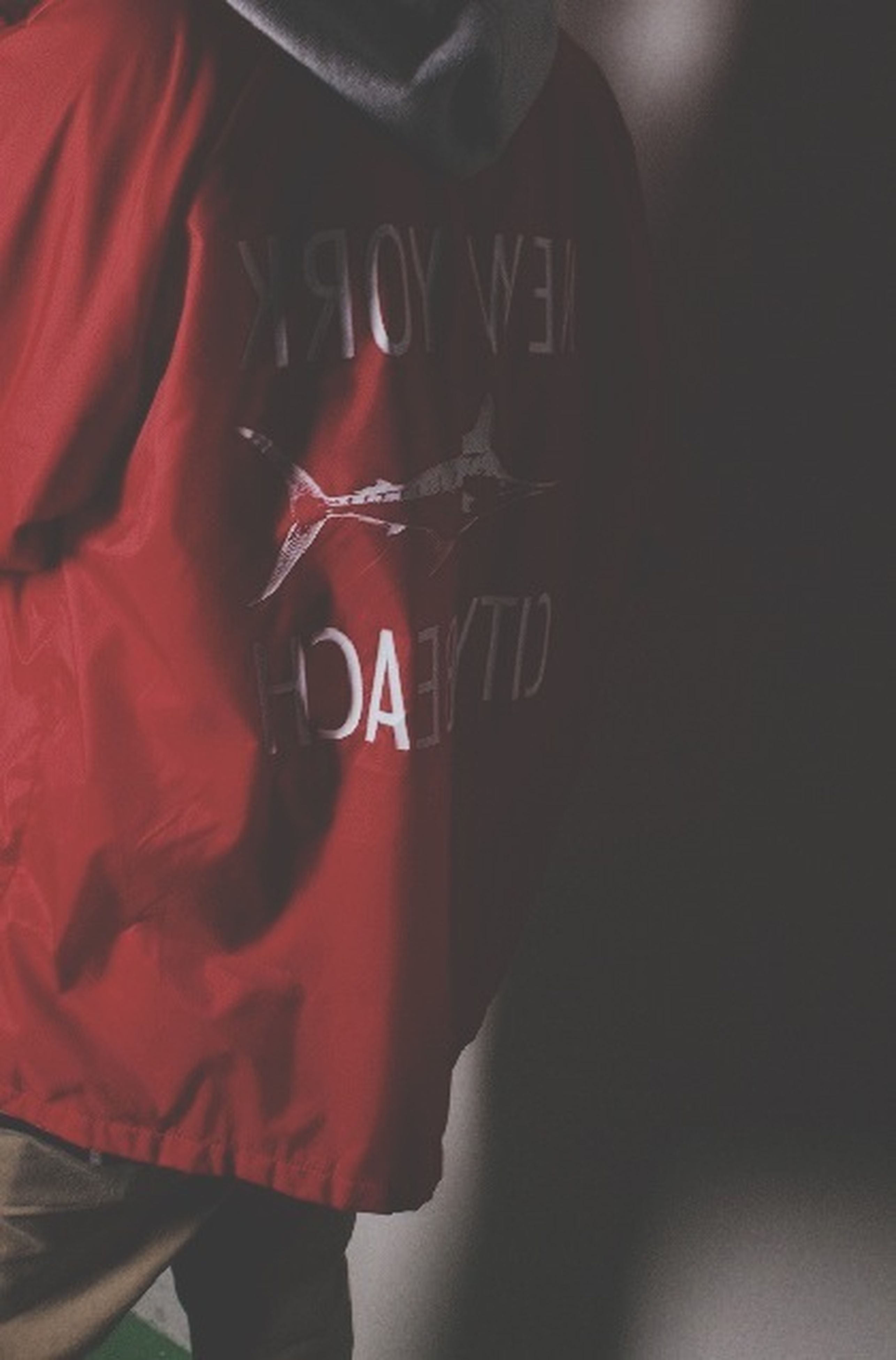 indoors, red, text, communication, lifestyles, western script, holding, close-up, men, leisure activity, person, unrecognizable person, part of, midsection, casual clothing, focus on foreground