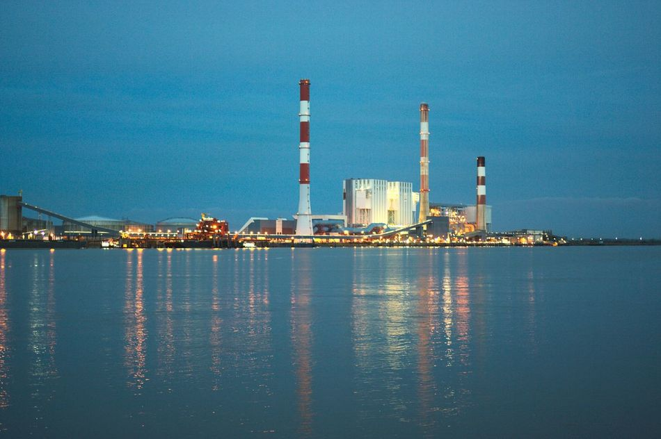 Power plant in the night Fuel And Power Generation Blue Industry Water Built Structure Illuminated Factory Sky Technology Outdoors No People Bokeh Photography Bokeh Love Bokeh Across The River Riverside River View Factory Night View Factory Chimney Factory Zone Architecture_collection Light Effect Light Reflection Reflection On Water Color Palette