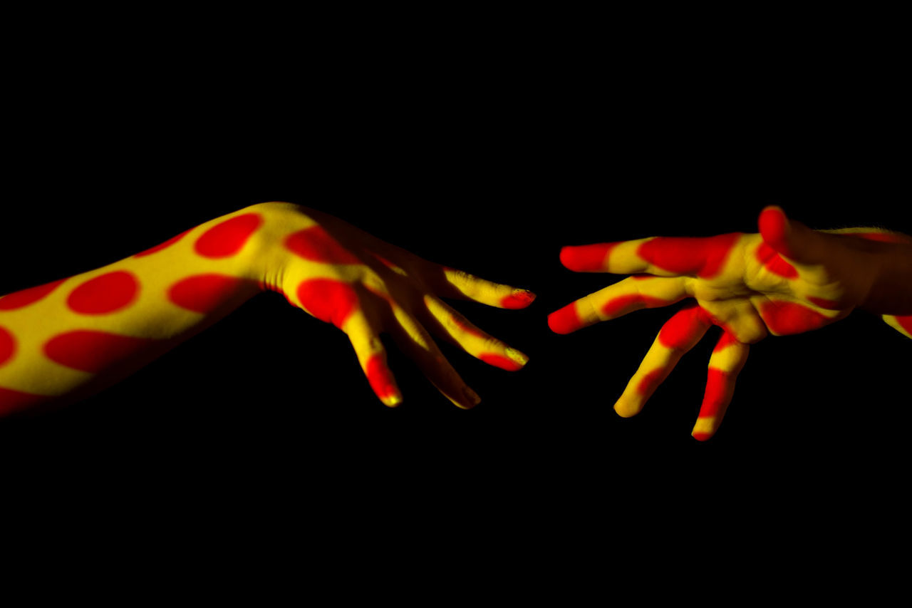 Architecture ArtWork Black Background Dots Hands, Orange Color Photography Idea Red, Studio Shot Yellow