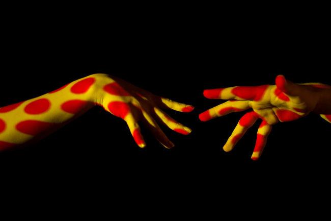 Architecture ArtWork Black Background Dots Hands, Orange Color Photography Idea Red, Studio Shot Yellow