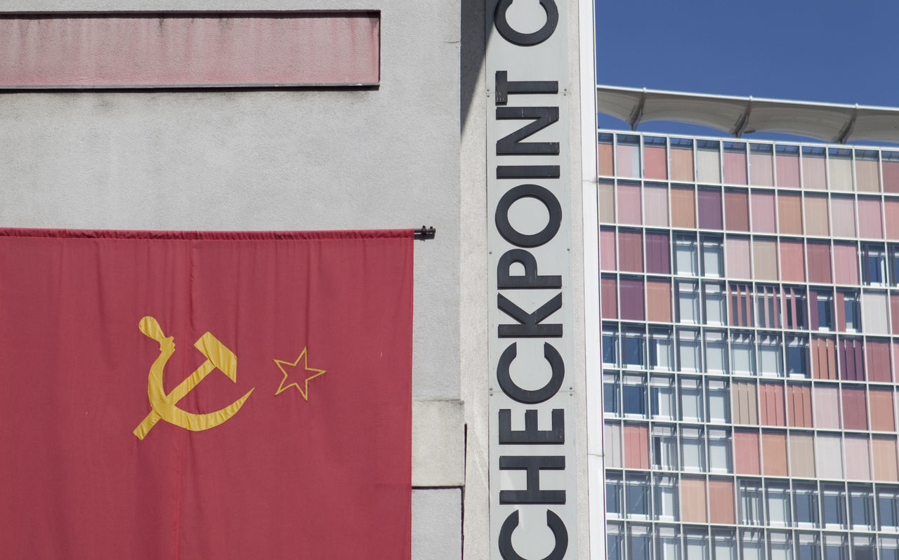 Architecture Battle Of The Cities Berlin Building Exterior Built Structure Checkpointcharlie Close-up Colorful Communication Communism Day Flag Full Frame Multi Colored No People Outdoors Red Symbol Vibrant Color