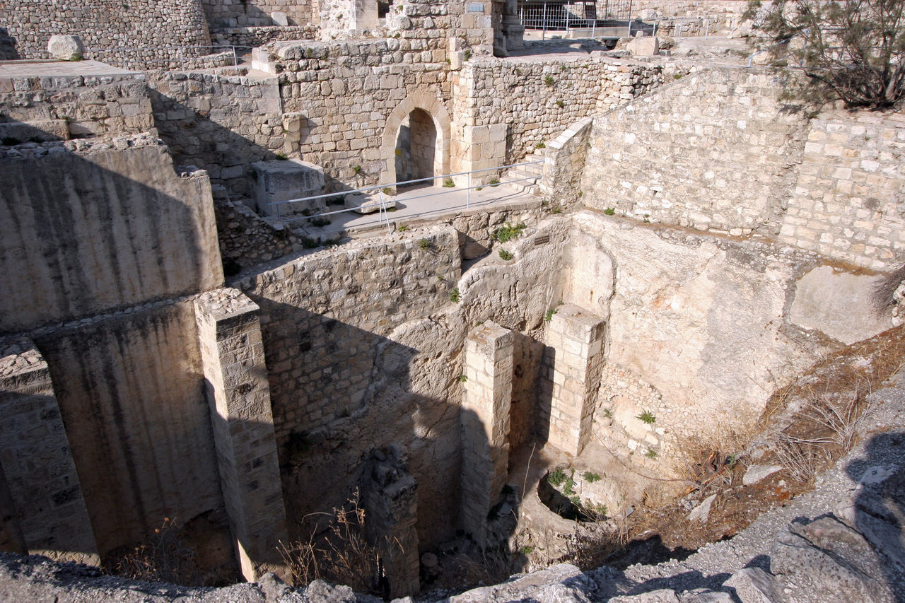 Ancient ruins of pools in the Muslim Quarter of Jerusalem Ancient Antique Archeology Architecture Built Structure City Civilization Culture Historical History Holy City Israel Jerusalem Mediterranean  Middle East Old Palestine Pool Ruin Stone Structure Wall Water