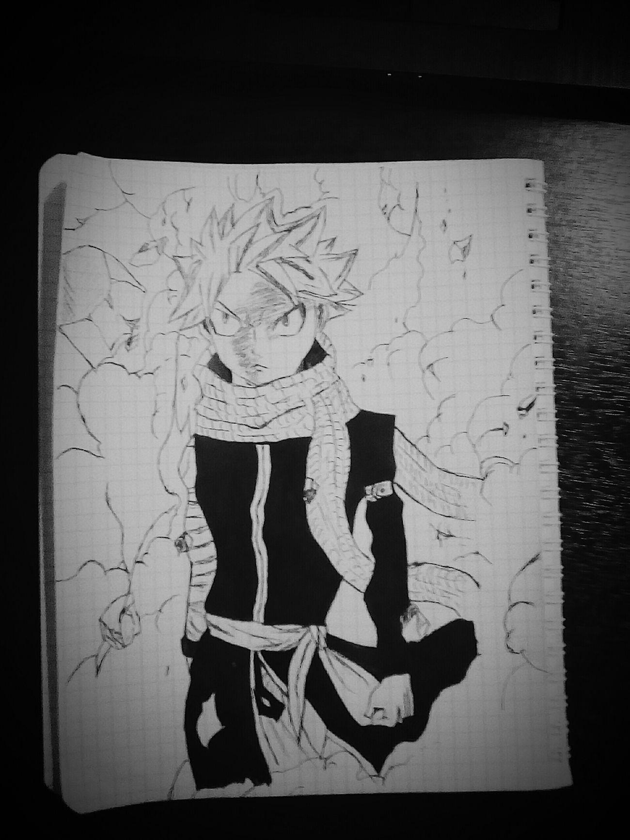 Anime Manga FairyTail Natsu Dragneel Art Picture Blackandwhite Немножко Нацу в ленту😊😝😺🎨