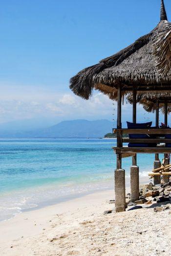 Sand Beach Tropical Shelter at Gili Trawangan, Lombok, Indonesia