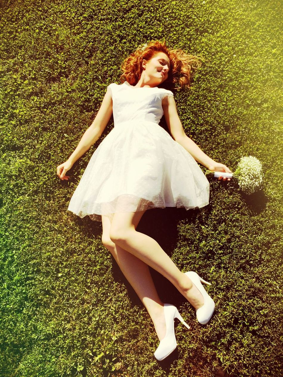 Beauty Redhead Grass One Person Full Length Green Color Young Adult High Angle View Carefree Young Women Leisure Activity Beautiful Woman Only Women Happiness Nature One Young Woman Only Lifestyles Real People Day Relaxation Break The Mold Art Is Everywhere TCPM EyeEmNewHere