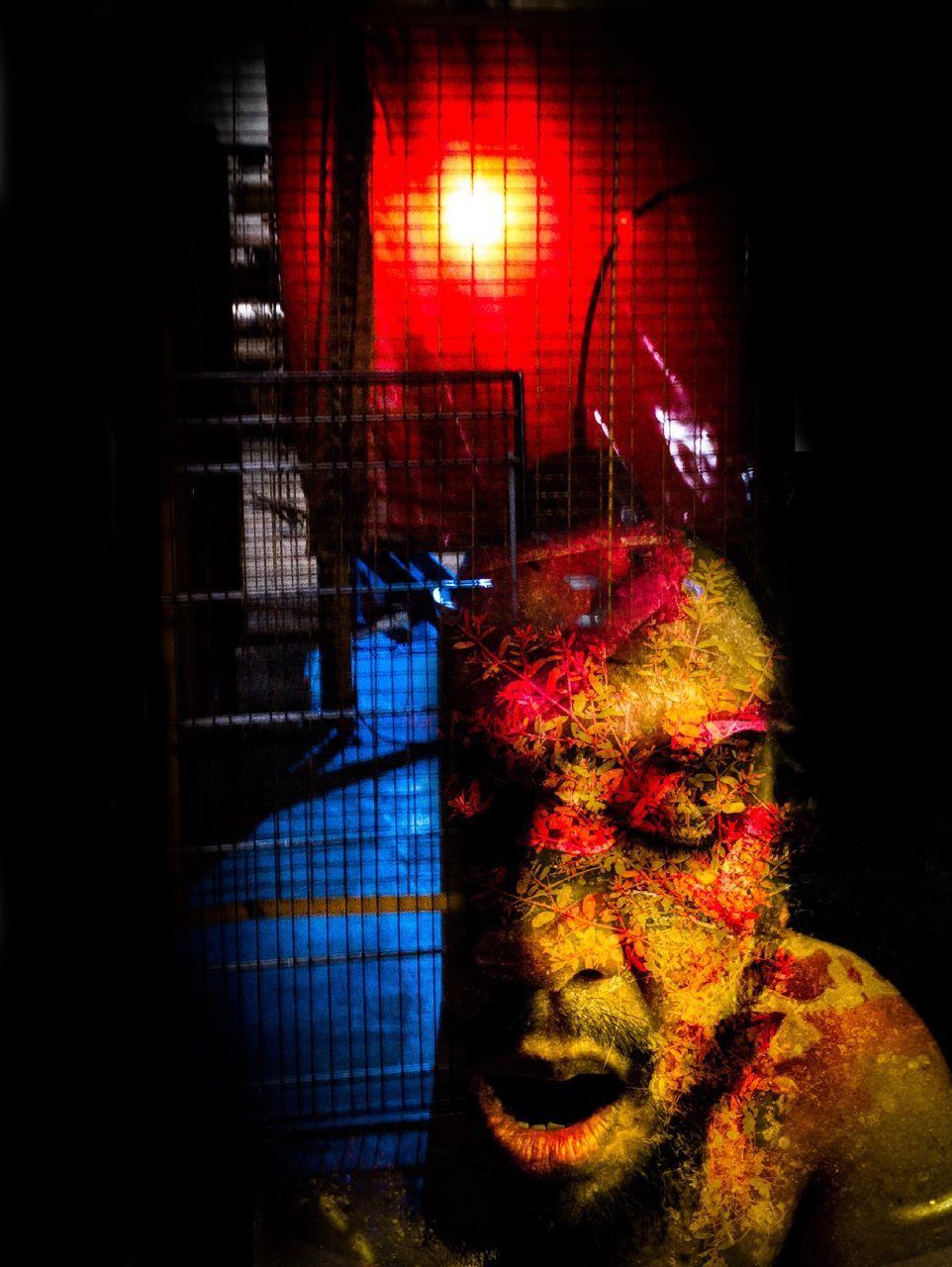 night, illuminated, indoors, close-up, no people