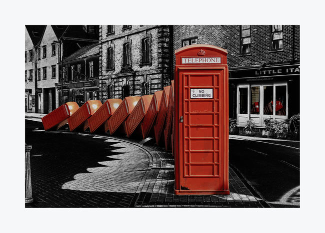Out Of Order II Architecture Building Built Structure City City Life Colour Pop Day Empty Exterior Kingston Upon Thames Leading Lines No People Outdoors Red Sculpture Telephone Boxes The Way Forward Colour Of Life