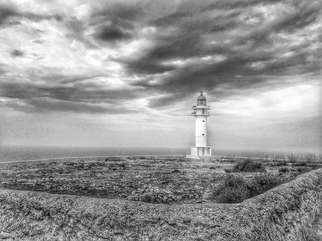 Lighhouse Clouds And Sky Landscape Cap De Barbaria Formentera Wide Angle HDR Summer2016 Morning Monochrome Photography