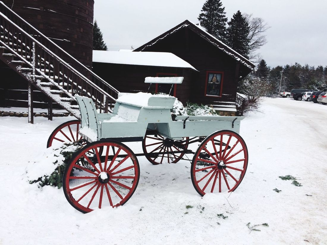 Old School Transportation Mode Of Transport Built Structure Architecture No People Outdoors Land Vehicle Building Exterior Snow Cold Temperature Day