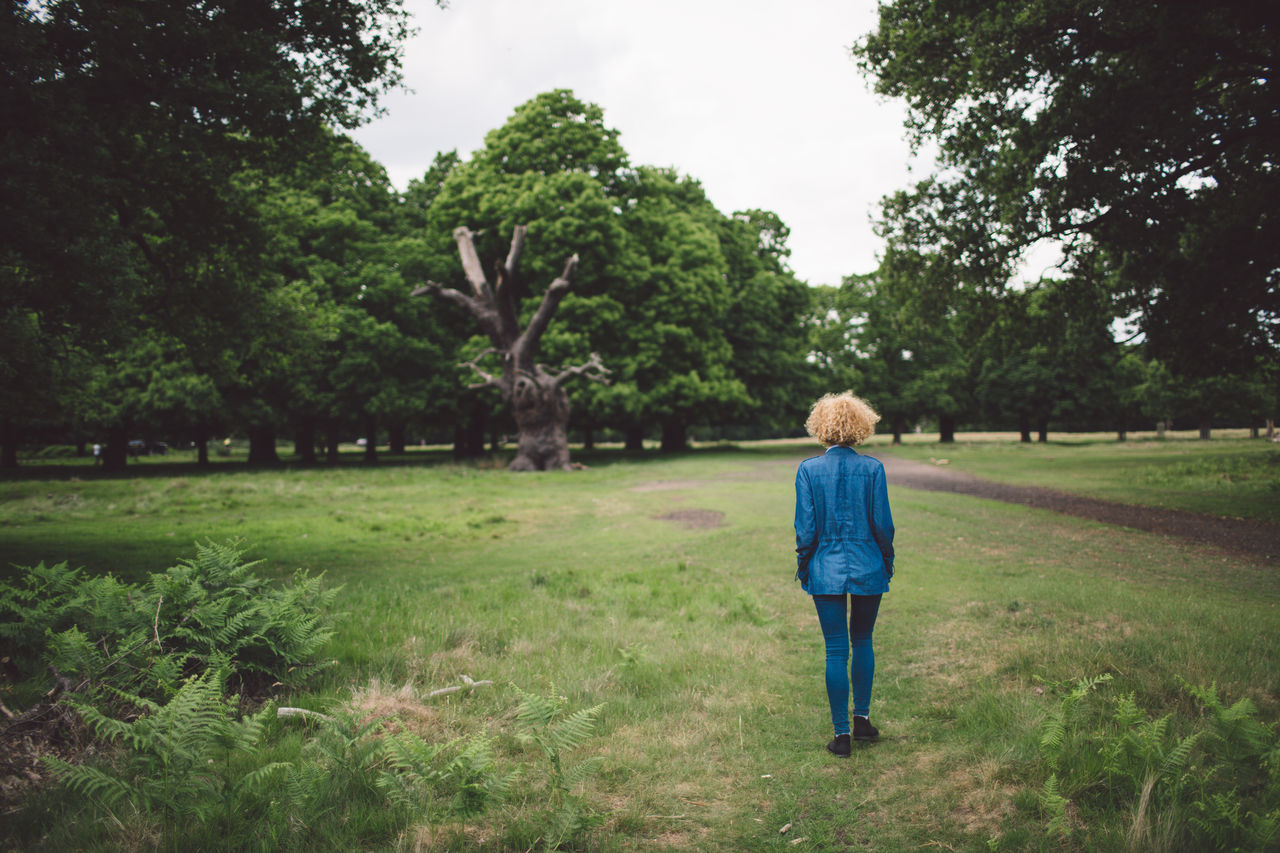 rear view, walking, tree, full length, growth, casual clothing, one person, grass, real people, field, nature, day, green color, outdoors, standing, childhood, beauty in nature, sky, people, adult