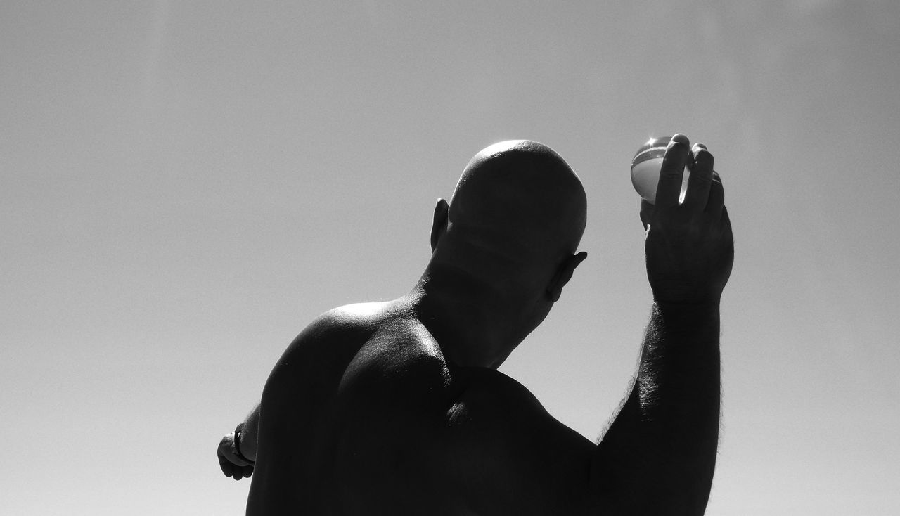 Bald Man Baldness Black & White Black And White Casual Clothing Close-up Day Focus On Foreground Headshot Leisure Activity Lifestyles Outdoors Sky The Fine Art Photography The OO Mission