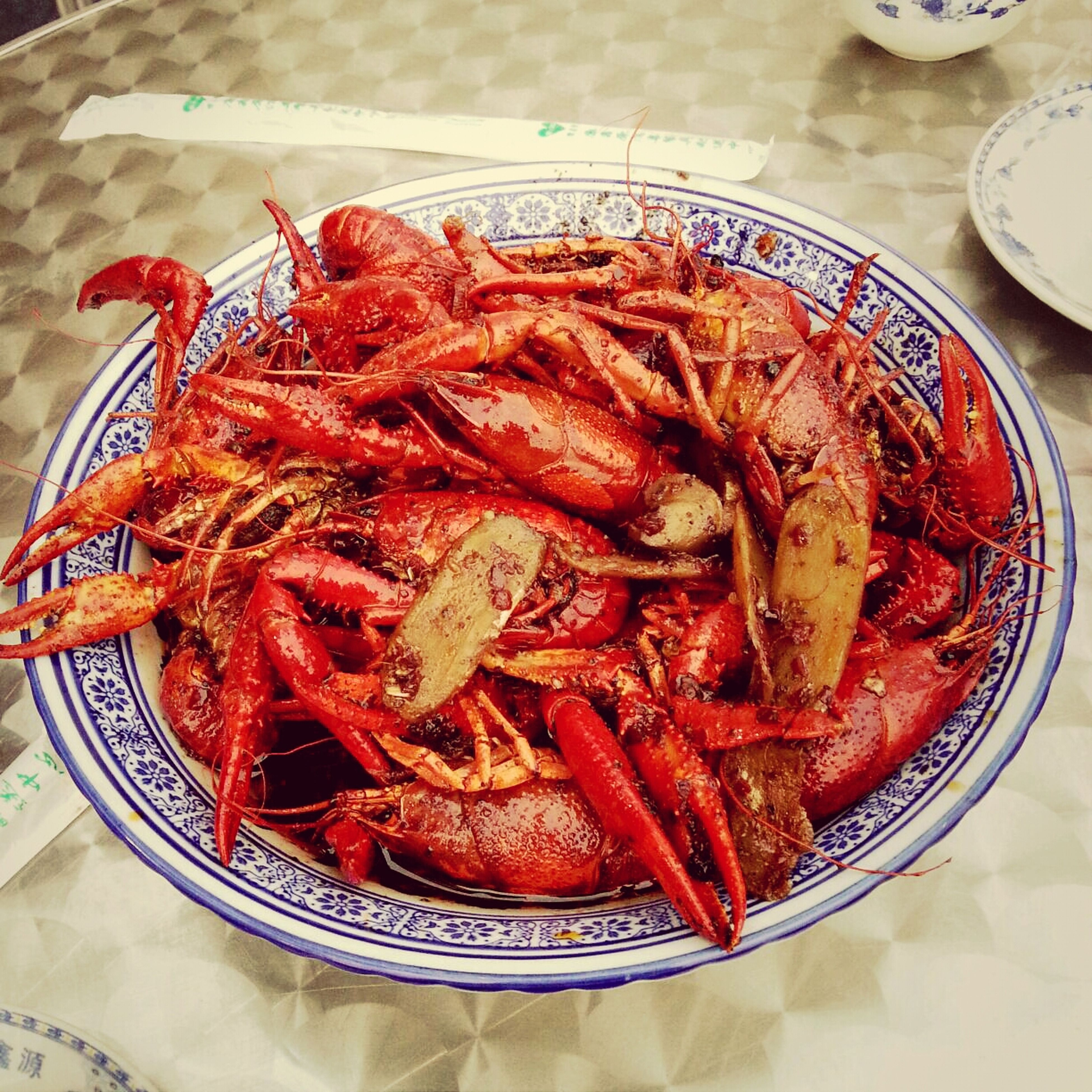 food, food and drink, freshness, indoors, healthy eating, seafood, ready-to-eat, still life, plate, high angle view, meat, meal, close-up, serving size, table, shrimp, indulgence, prawn, cooked, red
