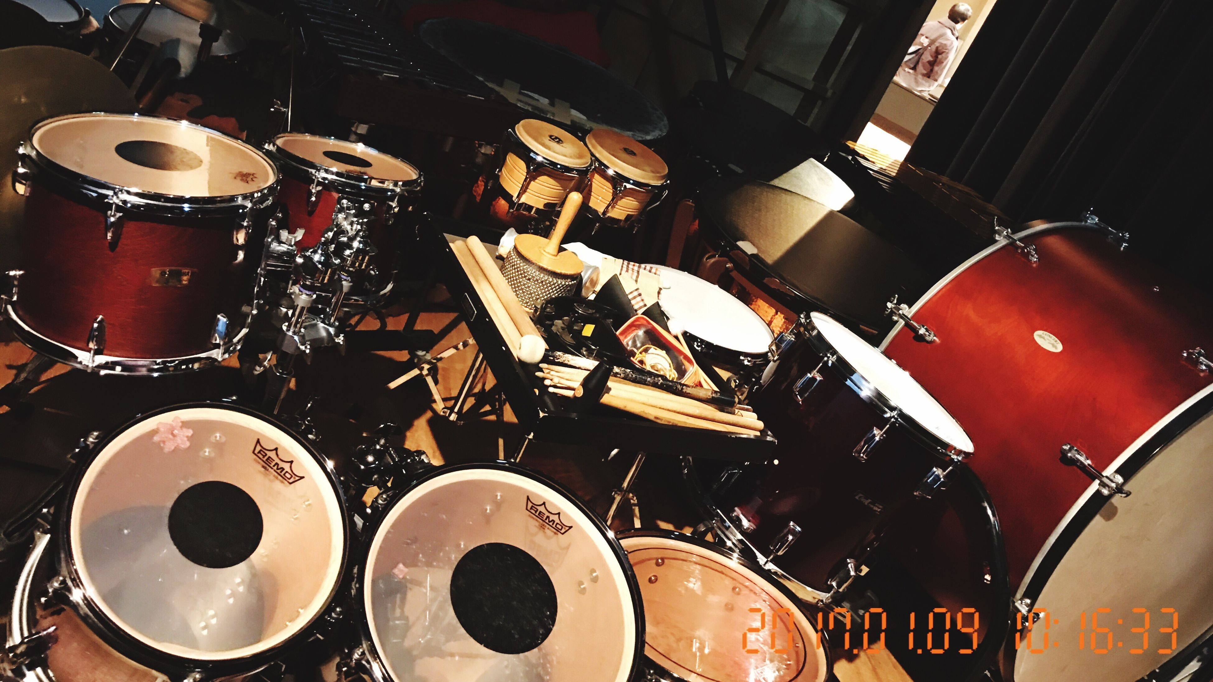 music, indoors, arts culture and entertainment, nightlife, musical instrument, night, drum kit, no people, rock music, popular music concert