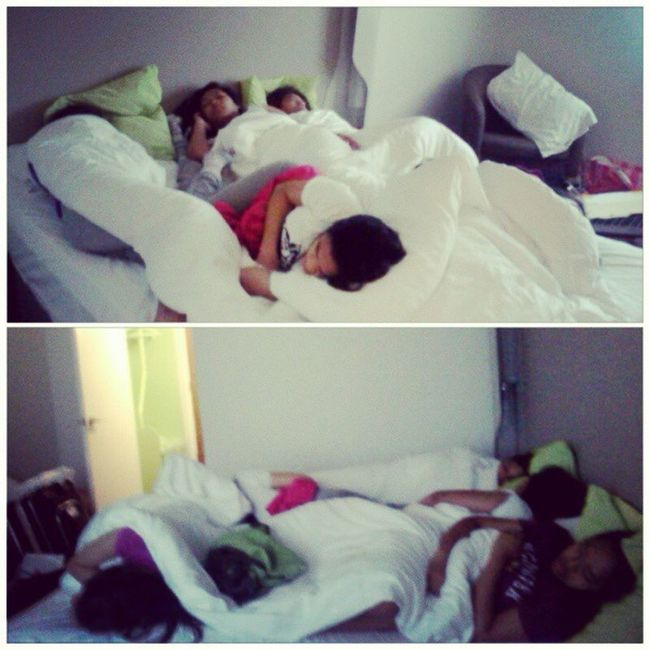 Lol spot the sleepyheads haha CampanileHotel Sleepover Candid Aftertheparty