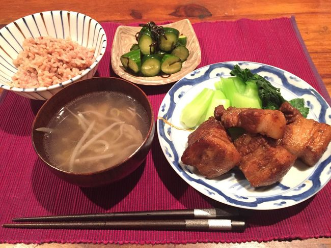 Food And Drink Food Ready-to-eat Plate Freshness High Angle View Indoors  No People Bowl Vegetable Table Serving Size Healthy Eating Meat Cooking Pork Meat! Meat! Meat! Japanese Food Japanese Culture