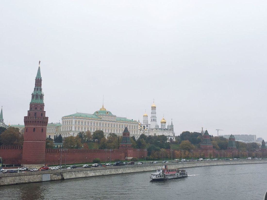 Moscow Kremlin Moscow River Boat Autumn Architecture Iloverussia Russia
