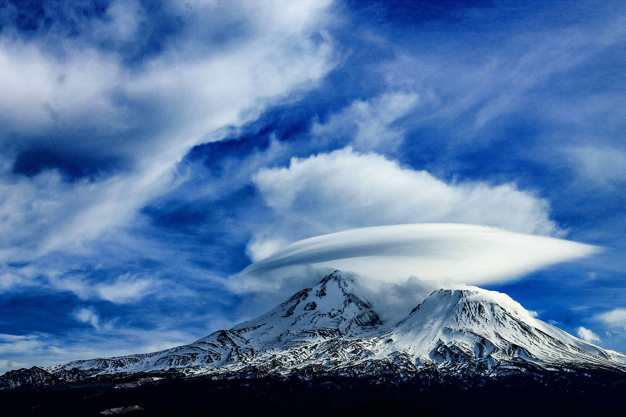 Diamond Mafia Photography Blackandwhite Photography Mountains Northern California Landscape Mysterious Mountain Mount Shasta, California Lenticular Cloud Cloud - Sky Sky No People Outdoors