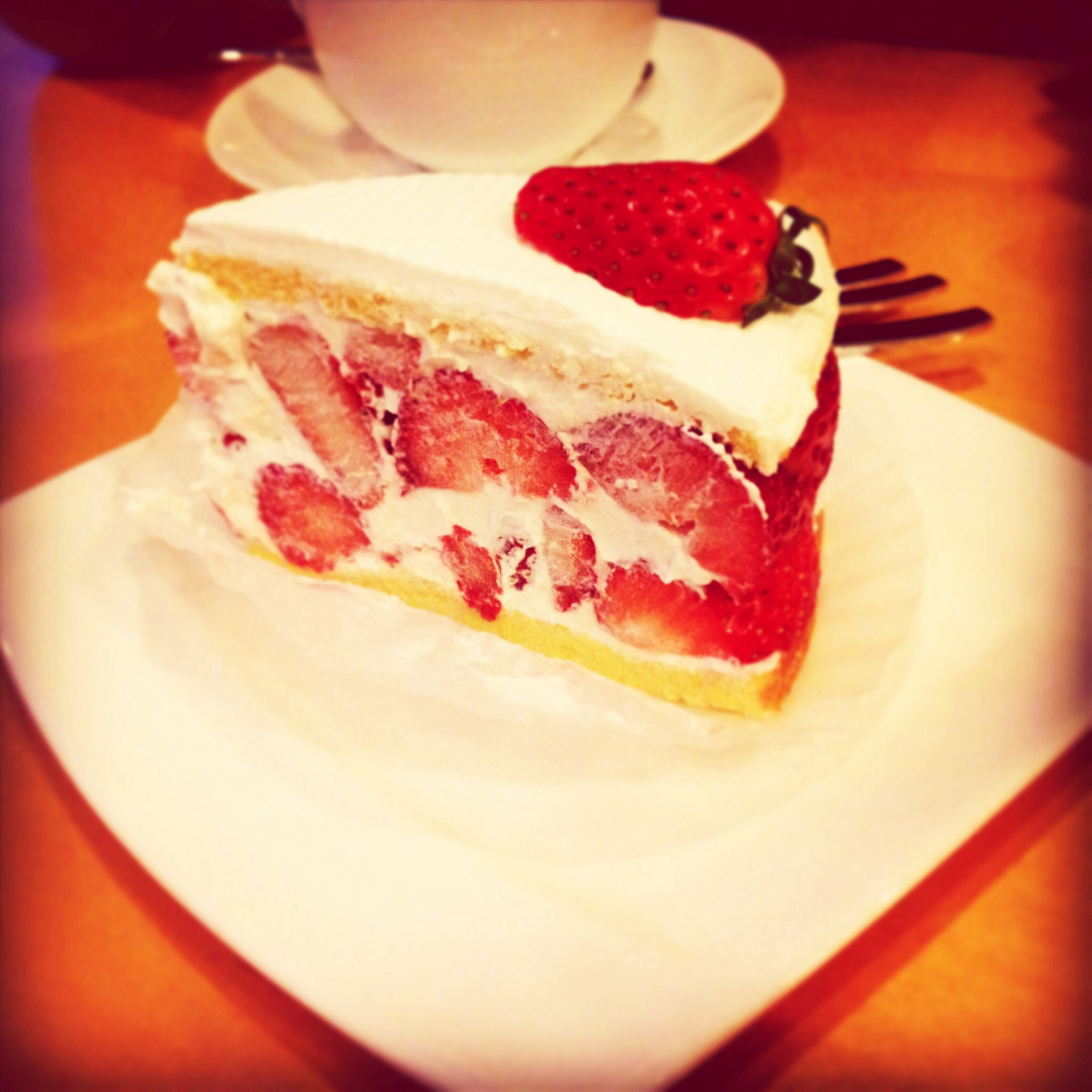 food and drink, food, indoors, freshness, ready-to-eat, sweet food, indulgence, dessert, unhealthy eating, plate, close-up, still life, temptation, strawberry, table, cake, red, ice cream, serving size, focus on foreground