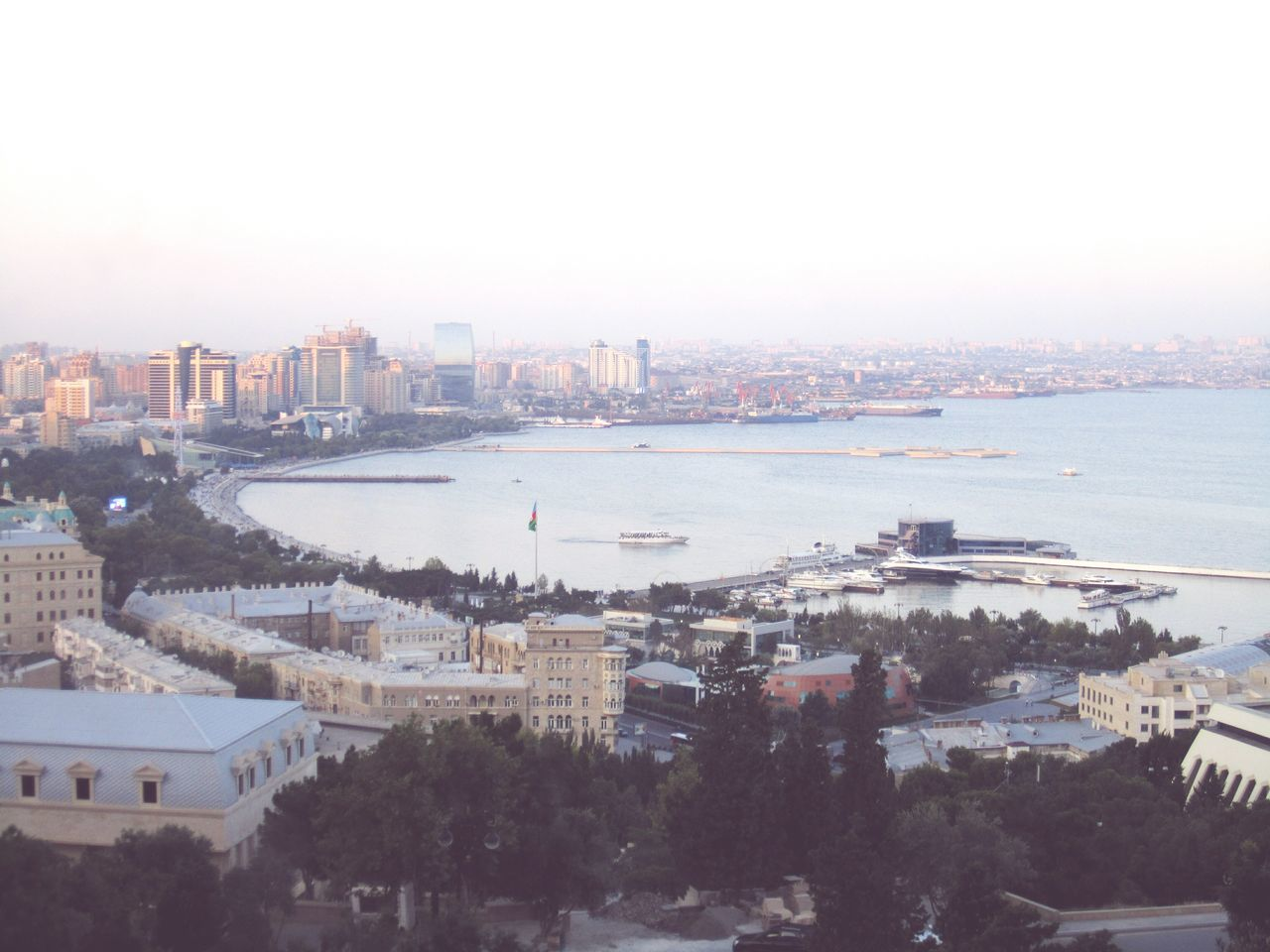 City View  Baku City Azerbaycan Boulevard View From Above Urban Landscape Sea View Sunset_collection Goergous Sunset Azerbaijan