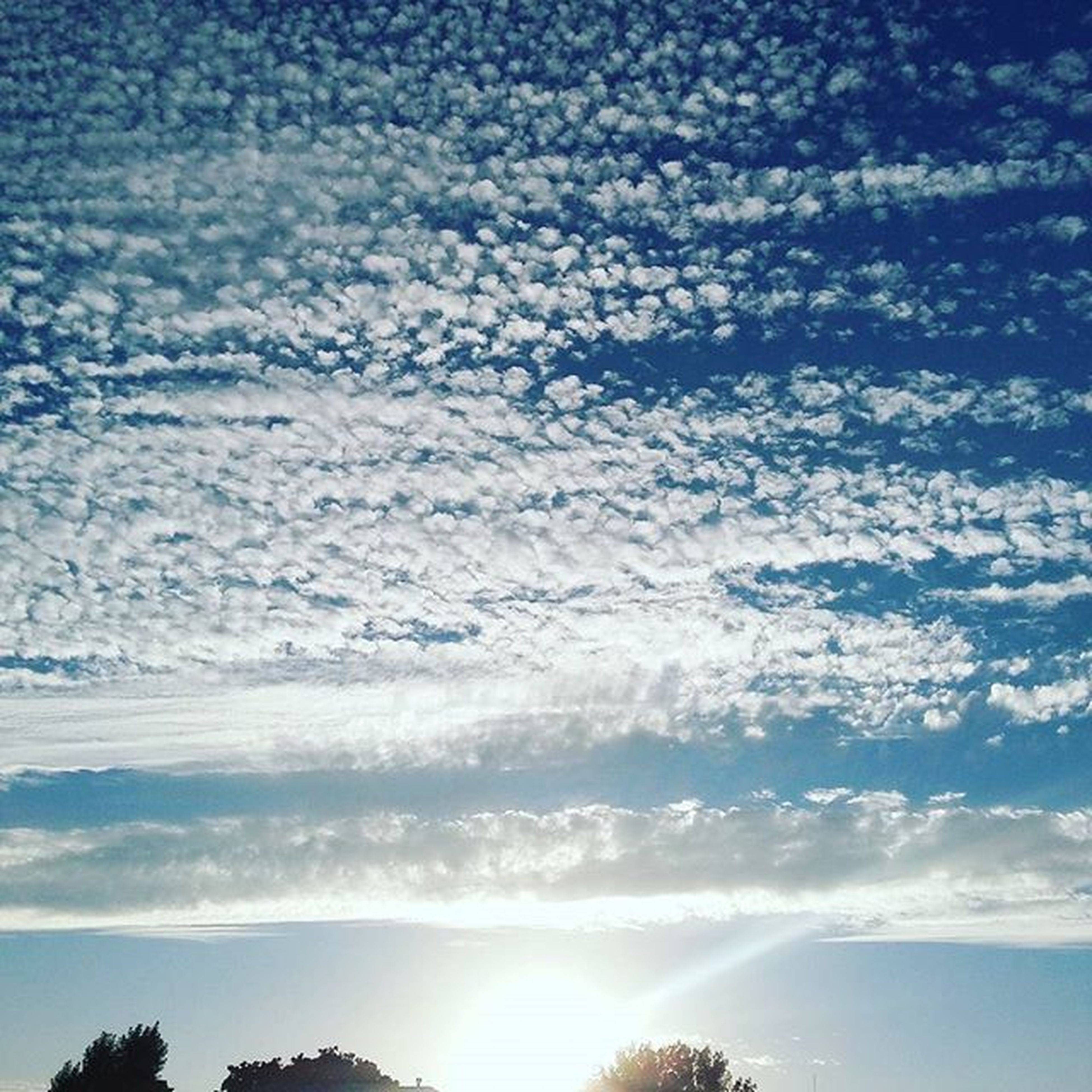 beauty in nature, scenics, sky, tranquil scene, tranquility, blue, nature, cloud - sky, low angle view, idyllic, cloud, sunlight, outdoors, no people, day, cloudy, cloudscape, white color, majestic, silhouette