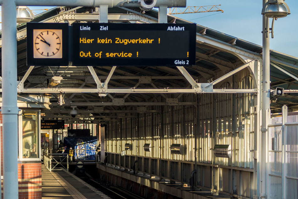Architecture Arrival Berlin Photography Berliner Ansichten Built Structure Clock Face Day Indoors  No People Out Of Service Public Transportation Rail Transportation Railroad Station Platform Text Transportation Travel Urban Exploration Vacations