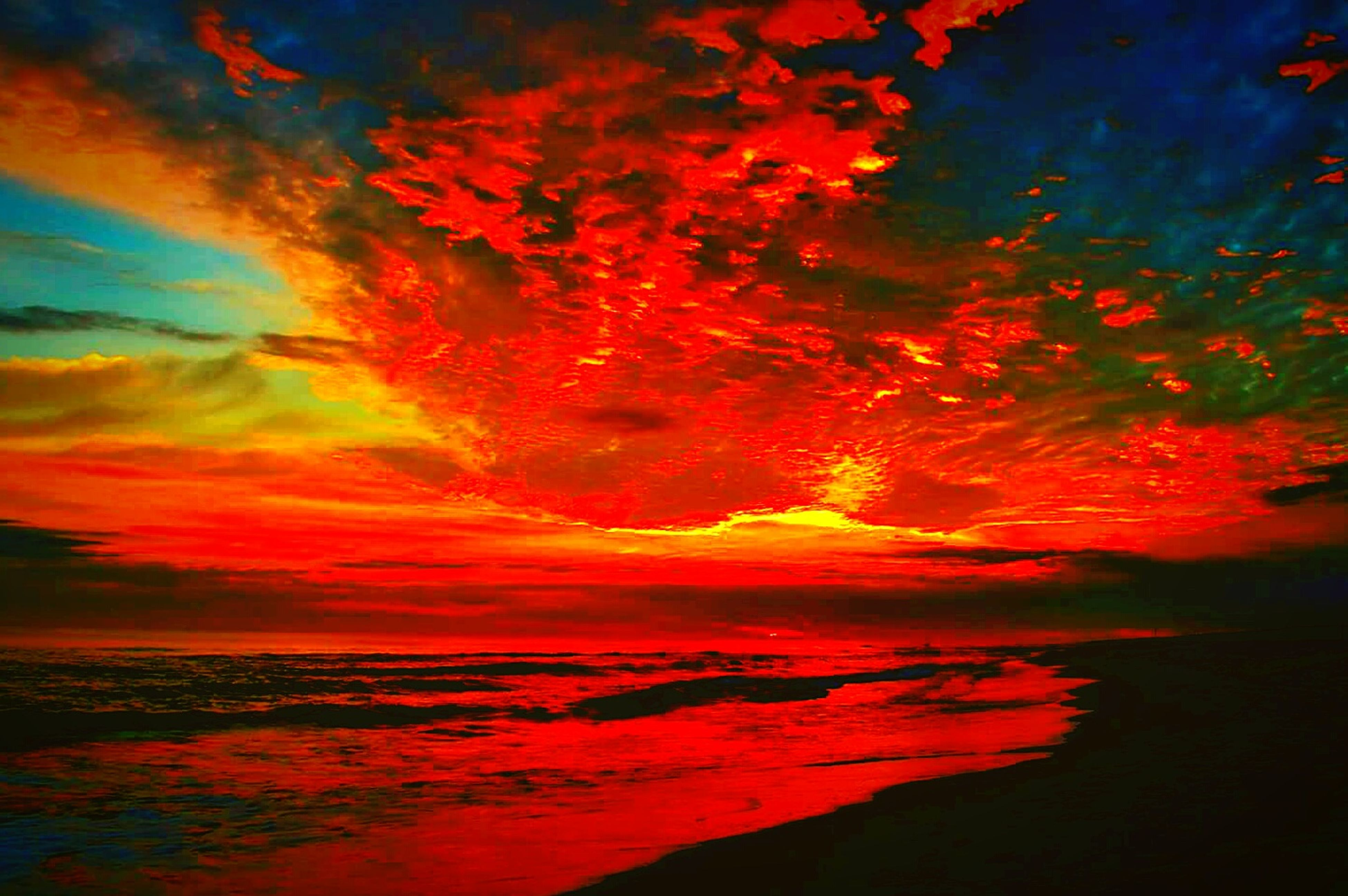 red, multi colored, reflection, water, sky, cloud - sky, beauty in nature, outdoors, sea, no people, power in nature, scenics, nature, astronomy, day