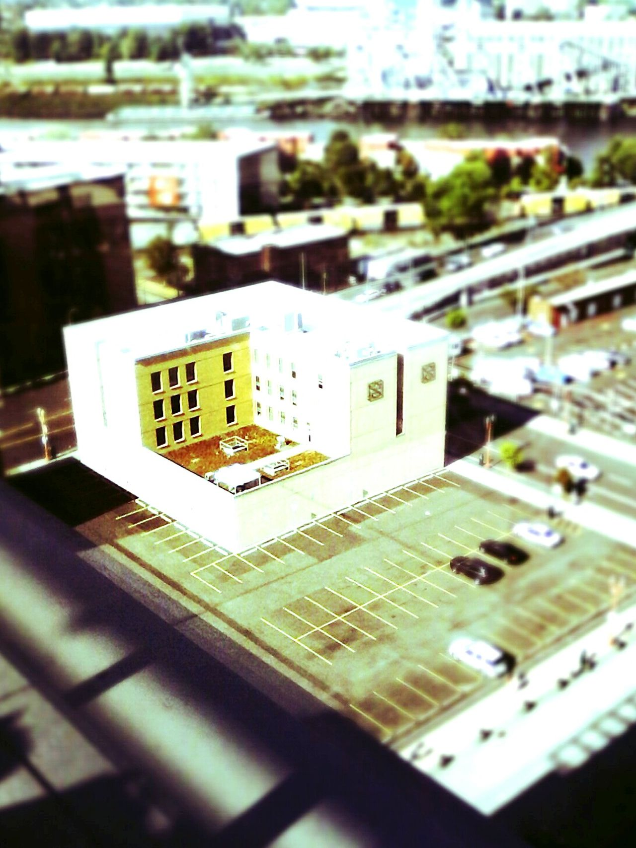 from the rooftop, it looks like a model Portland Photography Fast Through A Slow-motion Landscape Architecture Urban Architecture Color Photography Downshot City View  It Isn't As It Seems Parkplatz