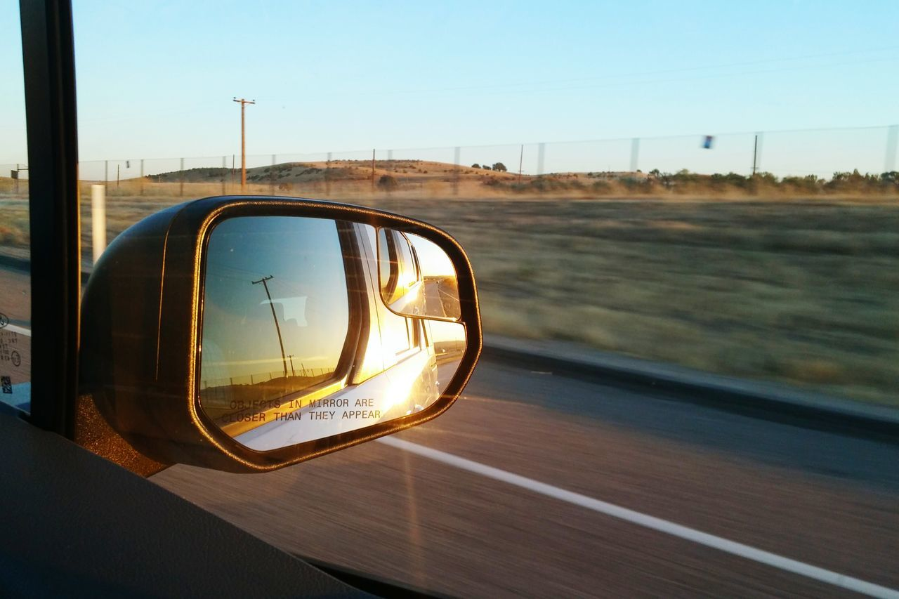 Don't look back. Feel The Journey Mein Automoment Open Road Mirror In The Mirror Side View Mirror Roadtrip Light And Shadow Light Driving On The Way Adventure Club 43 Golden Moments Live For The Story