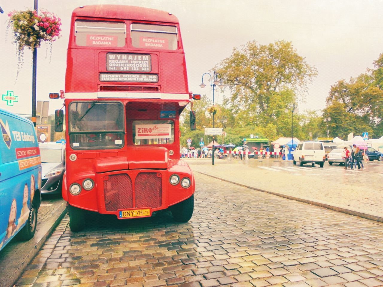 Red City Street Outdoors City Street Land Vehicle Londonbus Tourist Attraction  Opole Poland