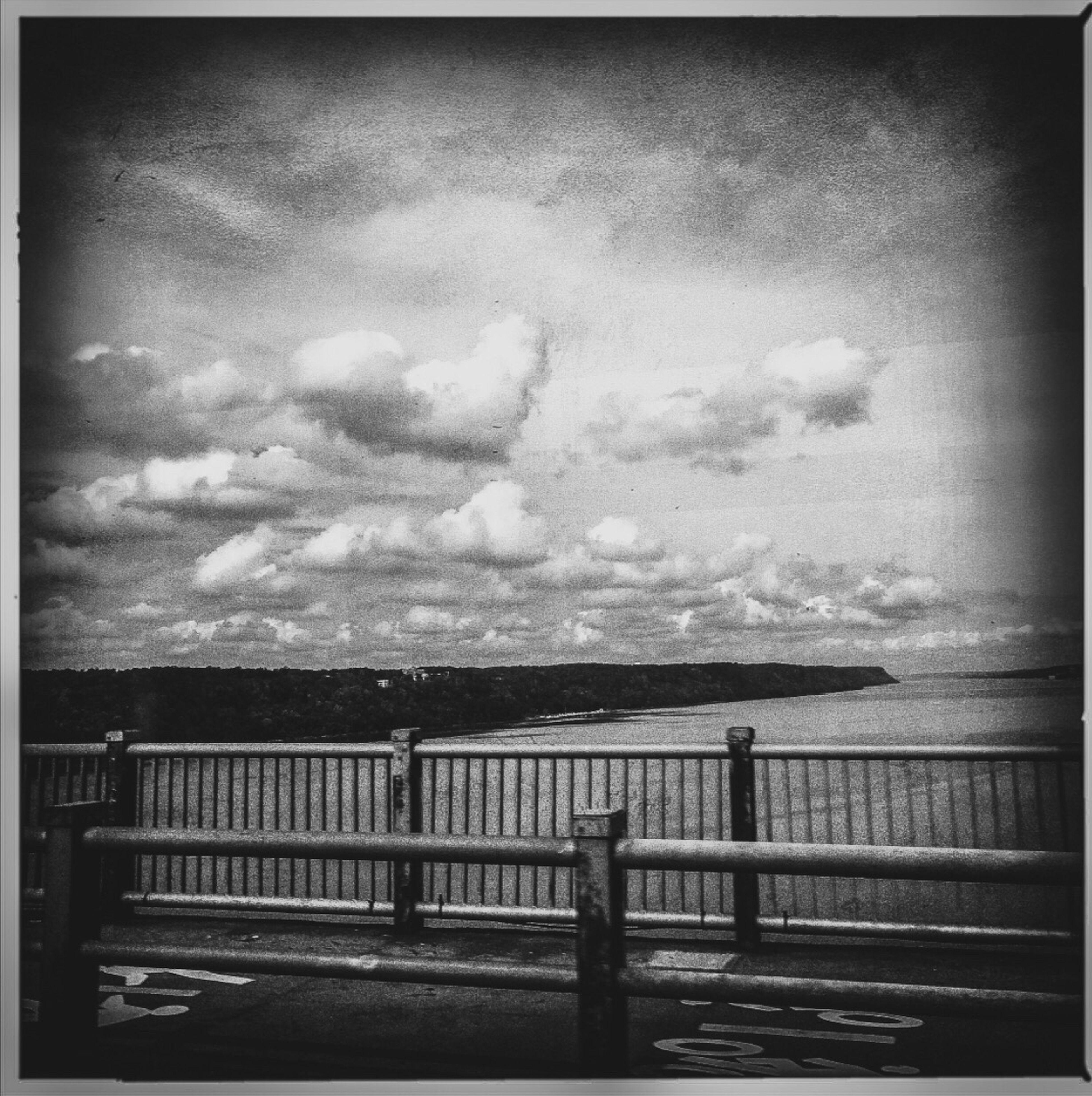 George Washington Bridge NY-NJ Magritte clouds Hudson River