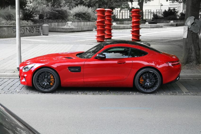 Mercedes Amg GTS Car Road Red Side View No People Roadside Day Vehicle Mode Of Transport Mercedes Benz Mercedesamg Mercedes Focus On Foreground Photo Photography Photographer Cars Luxury Luxurylifestyle  Modern Journey Rush Hour City Life Outdoors Street