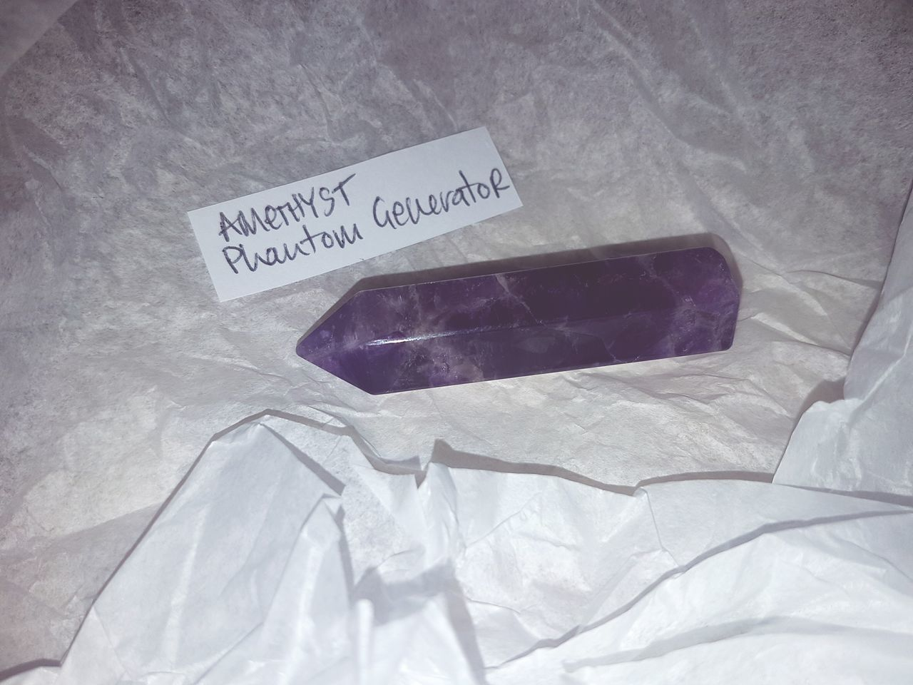 Early birthday present to me 😍 Close-up Crumpled Paper Home Tranquility Phone Photography No People Crystal Amethyst Gypsy Soul Love Highlife Wand HealingCrystals Purple First Eyeem Photo Hobbyphotography
