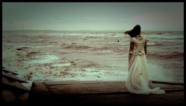 Production photo from the feature film 'In Abigail's Place' Beach Horizon Over Water Sea Scenics Solitude Inabigailsplace Wedding Dress Horror Photography Horror Film Production Crosby Beach Anthony Gormleys Another Place Anthony Gormley